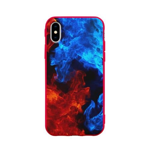 Чехол для Apple iPhone X силиконовый матовый Битва огней Фото 01