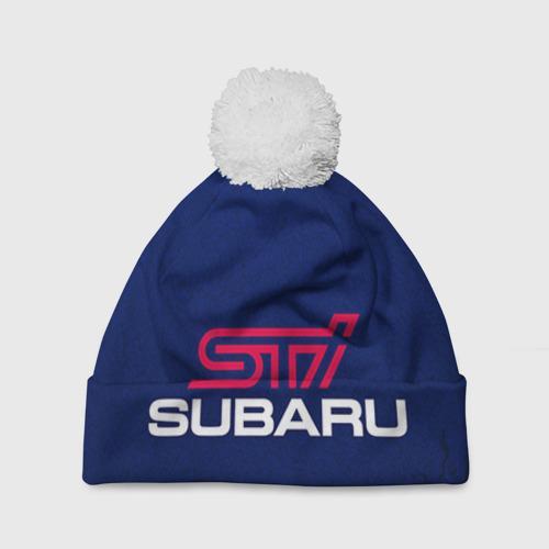 Шапка 3D c помпоном Subaru STI Фото 01