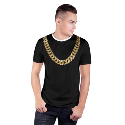 Мужская футболка 3D спортивная  Фото 03, Золотая цепь