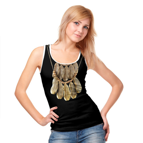 Женская майка 3D  Фото 05, Золотые перья