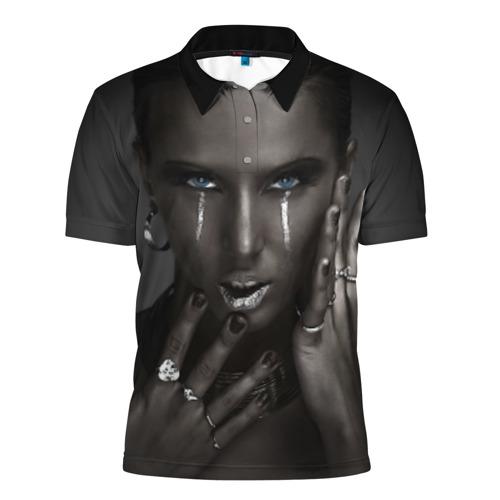 Мужская рубашка поло 3D Черная девушка