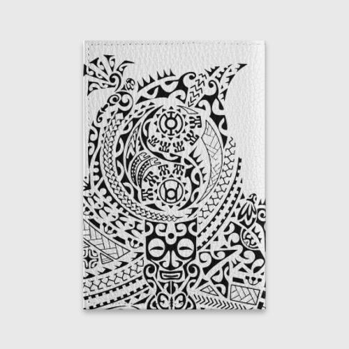 Обложка для паспорта матовая кожа  Фото 02, Узор на белом