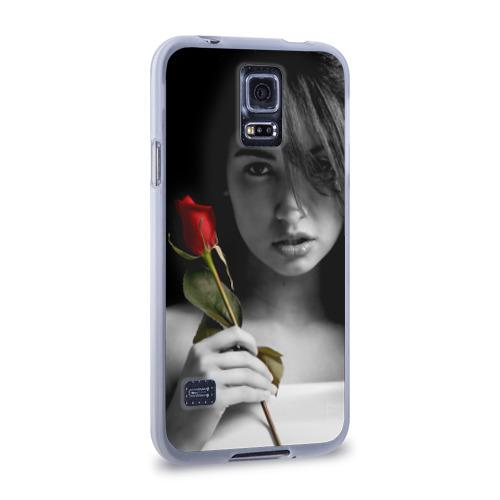 Чехол для Samsung Galaxy S5 силиконовый  Фото 02, Девушка с розой