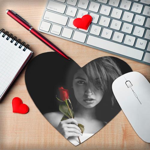 Коврик для мыши сердце  Фото 02, Девушка с розой
