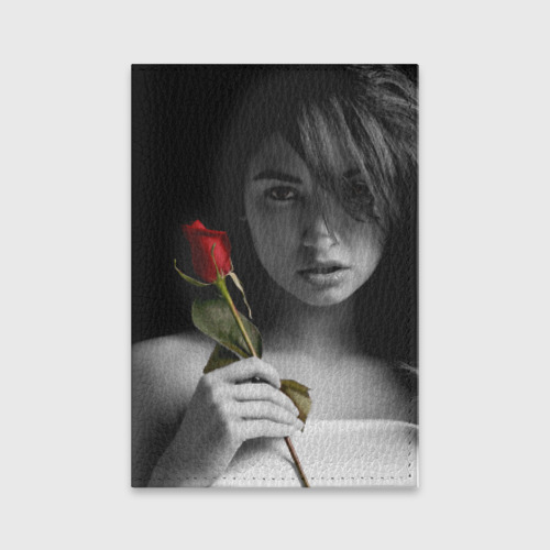 Обложка для паспорта матовая кожа  Фото 01, Девушка с розой