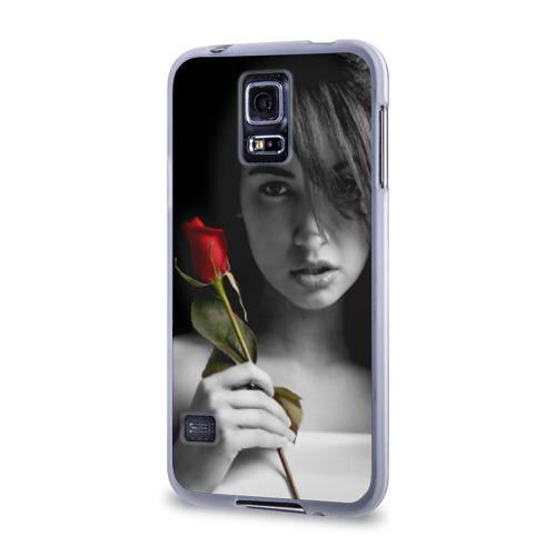 Чехол для Samsung Galaxy S5 силиконовый  Фото 03, Девушка с розой