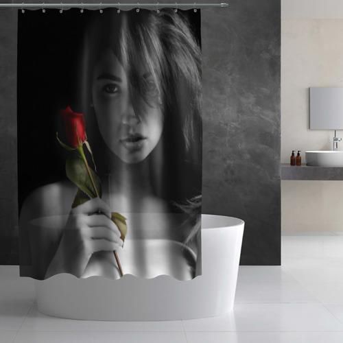 Штора 3D для ванной  Фото 03, Девушка с розой
