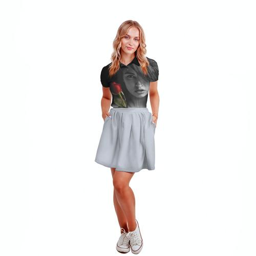 Женская рубашка поло 3D  Фото 04, Девушка с розой