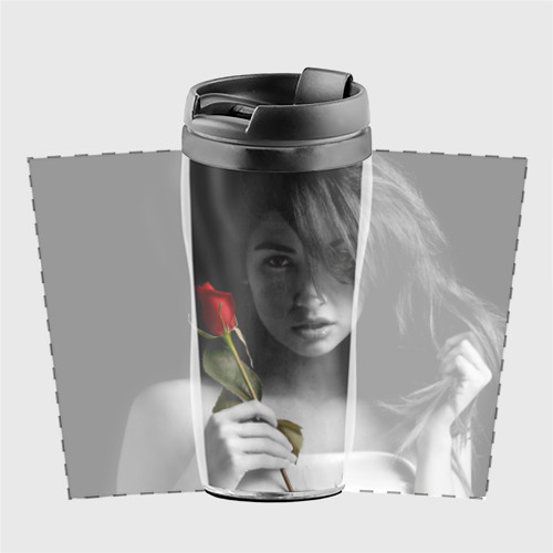 Термокружка-непроливайка  Фото 02, Девушка с розой