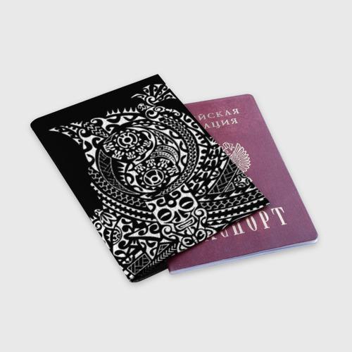 Обложка для паспорта матовая кожа  Фото 03, Узор на черном