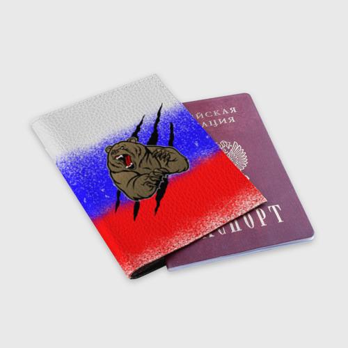 Обложка для паспорта матовая кожа  Фото 03, Свирепый медведь