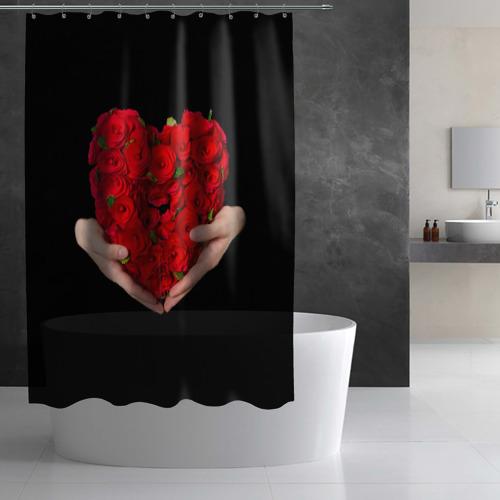 Штора 3D для ванной Сердце в руках Фото 01