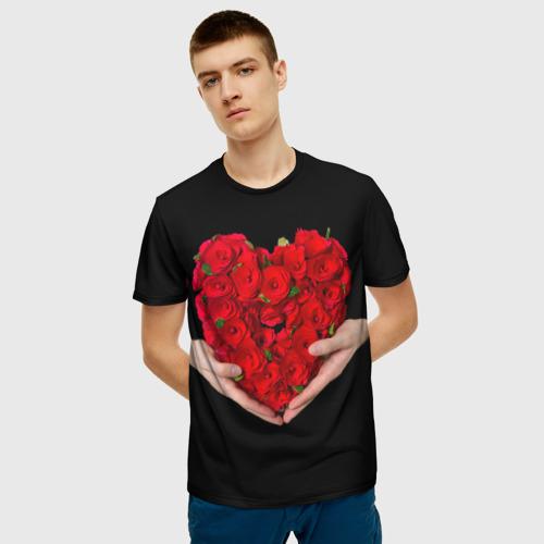 Мужская футболка 3D Сердце в руках Фото 01