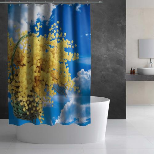 Штора 3D для ванной  Фото 02, Мимозы