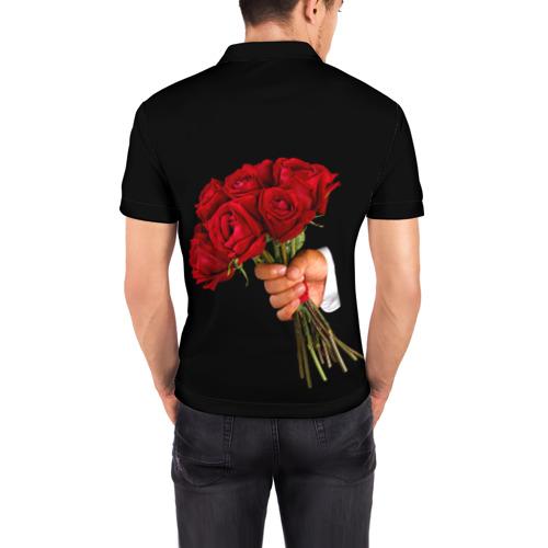 Мужская рубашка поло 3D  Фото 04, Розы за спиной