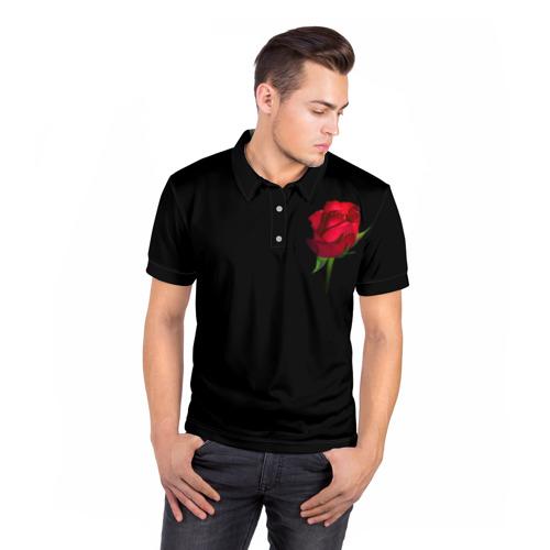 Мужская рубашка поло 3D  Фото 05, Розы за спиной