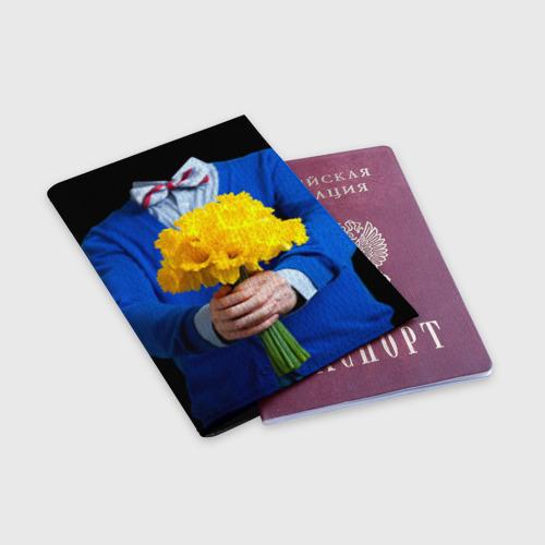 Обложка для паспорта матовая кожа  Фото 03, Цветы в руках