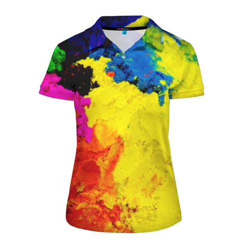 Женская рубашка поло 3D Индуистский фестиваль красок