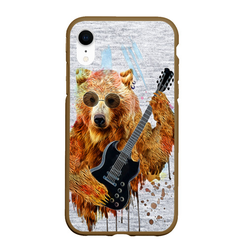 Чехол для iPhone XR матовый Медведь с гитарой Фото 01