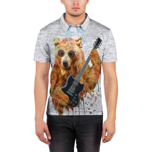 Мужская рубашка поло 3D  Фото 03, Медведь с гитарой