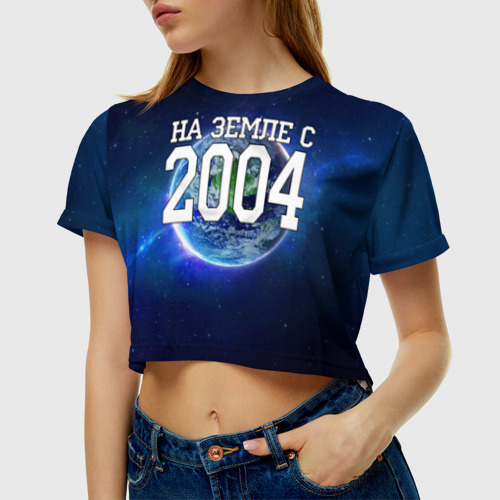 Женская футболка 3D укороченная  Фото 01, На Земле с 2004