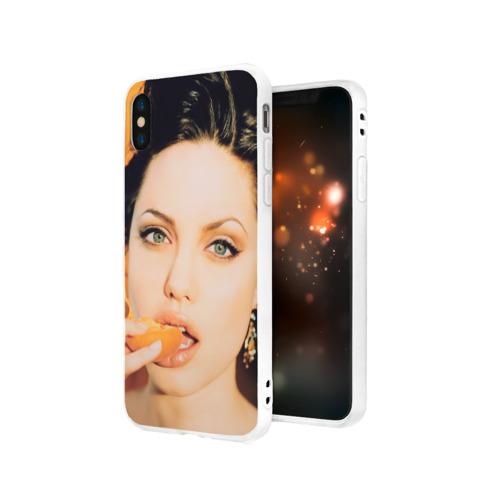 Чехол для Apple iPhone X силиконовый матовый  Фото 03, Анжелина Джоли
