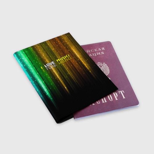 Обложка для паспорта матовая кожа  Фото 03, I LOVE MUSIC!
