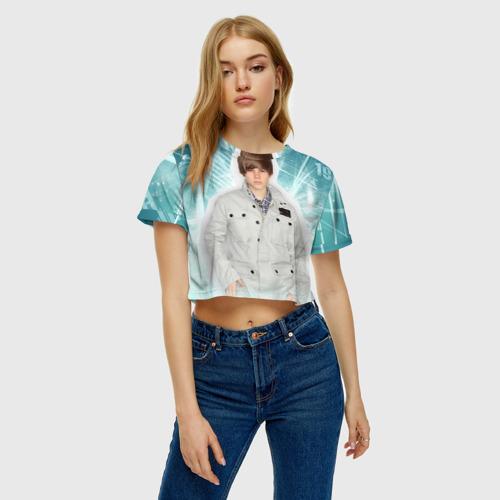 Женская футболка 3D укороченная  Фото 04, Джастин Бибер