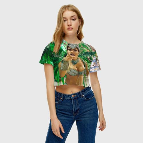 Женская футболка 3D укороченная  Фото 04, Карнавал в Рио