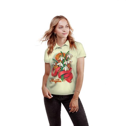 Женская рубашка поло 3D  Фото 03, Подснежники