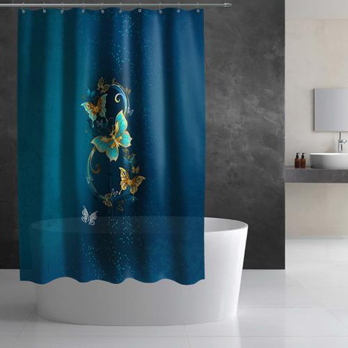 Штора 3D для ванной  Фото 02, Бабочки