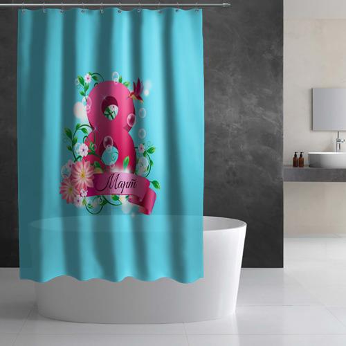 Штора 3D для ванной  Фото 03, Восьмерка и колибри