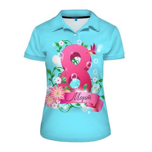 Женская рубашка поло 3D  Фото 01, Восьмерка и колибри