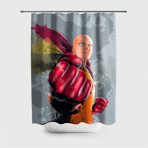Штора 3D для ванной One-punch man