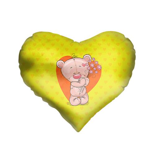 Подушка 3D сердце  Фото 01, Мишка с цветочками