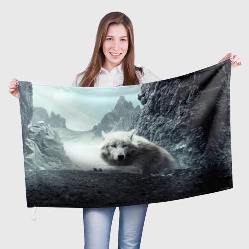 Флаг 3D Волк в горах Фото 01