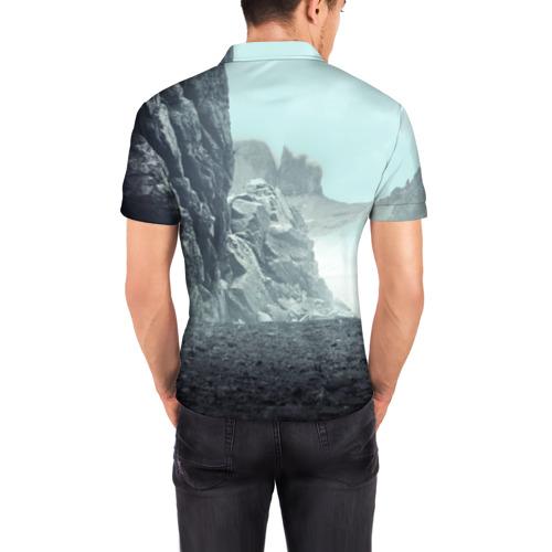 Мужская рубашка поло 3D Волк в горах Фото 01