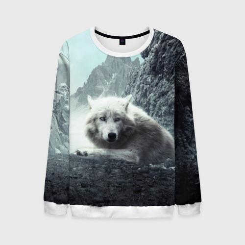 Мужской свитшот 3D Волк в горах Фото 01