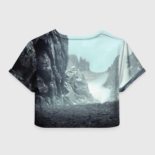 Женская футболка 3D укороченная  Фото 02, Волк в горах