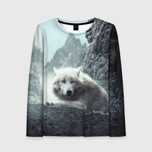 Женский лонгслив 3D Волк в горах Фото 01
