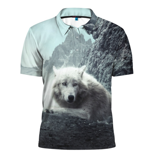 Мужская рубашка поло 3D Волк в горах