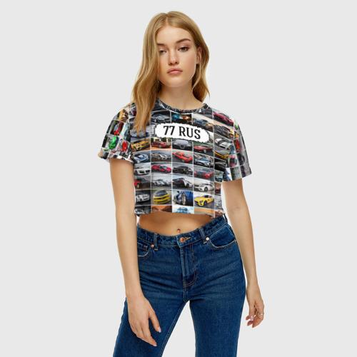 Женская футболка 3D укороченная  Фото 04, Крутые тачки (77 RUS)
