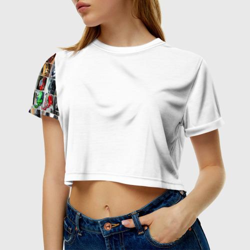 Женская футболка 3D укороченная  Фото 01, Крутые тачки (77 RUS)