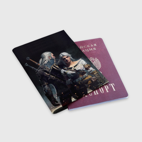Обложка для паспорта матовая кожа Geralt and Ciri Фото 01