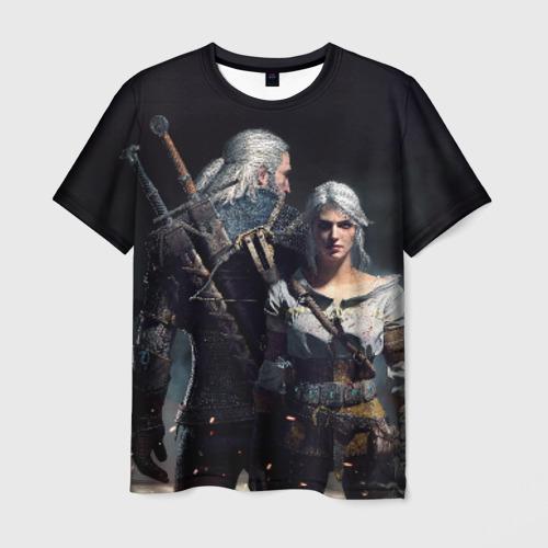 Мужская футболка 3D Geralt and Ciri