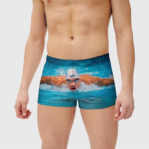 Мужские купальные плавки 3D Пловец Фото 01
