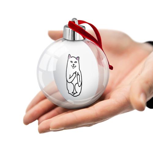 Ёлочный шар Кот показывающий лапки Фото 01