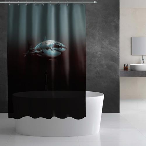 Штора 3D для ванной  Фото 03, Акула