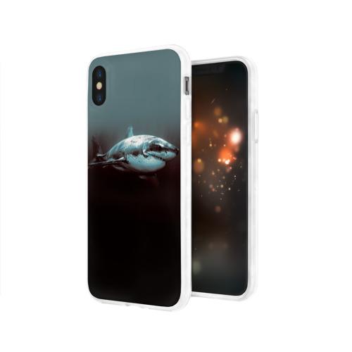 Чехол для Apple iPhone X силиконовый глянцевый  Фото 03, Акула