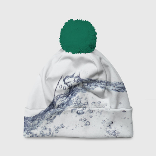 Шапка 3D c помпоном Белая вода